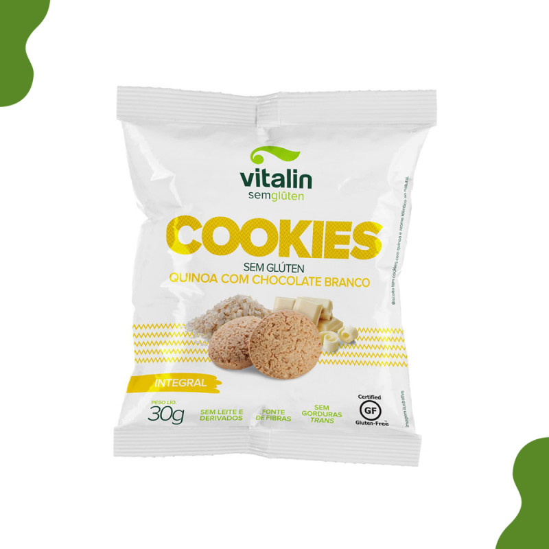 COOKIES QUINOA COM CHOCOLATE BRANCO INTEGRAL VITALIN 30G